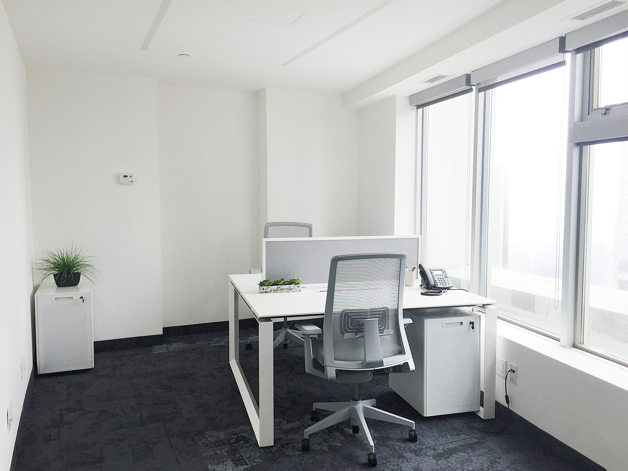 white office with two work desks